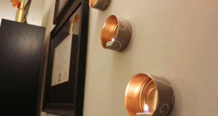 wall mounted tin can tea lights