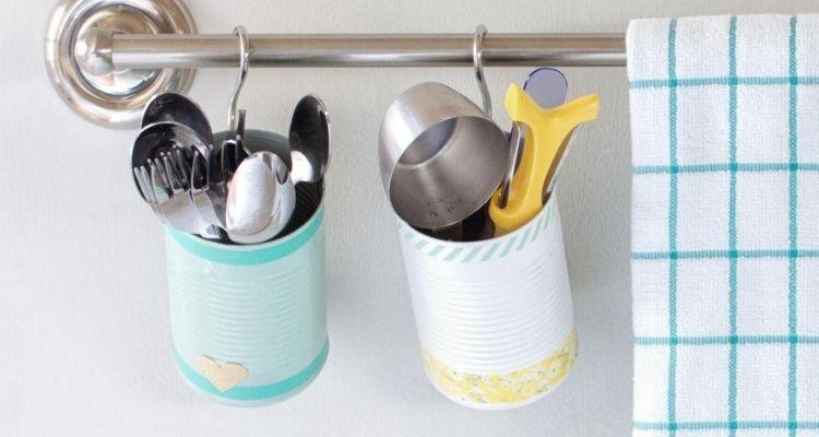 Tin can utensil holder