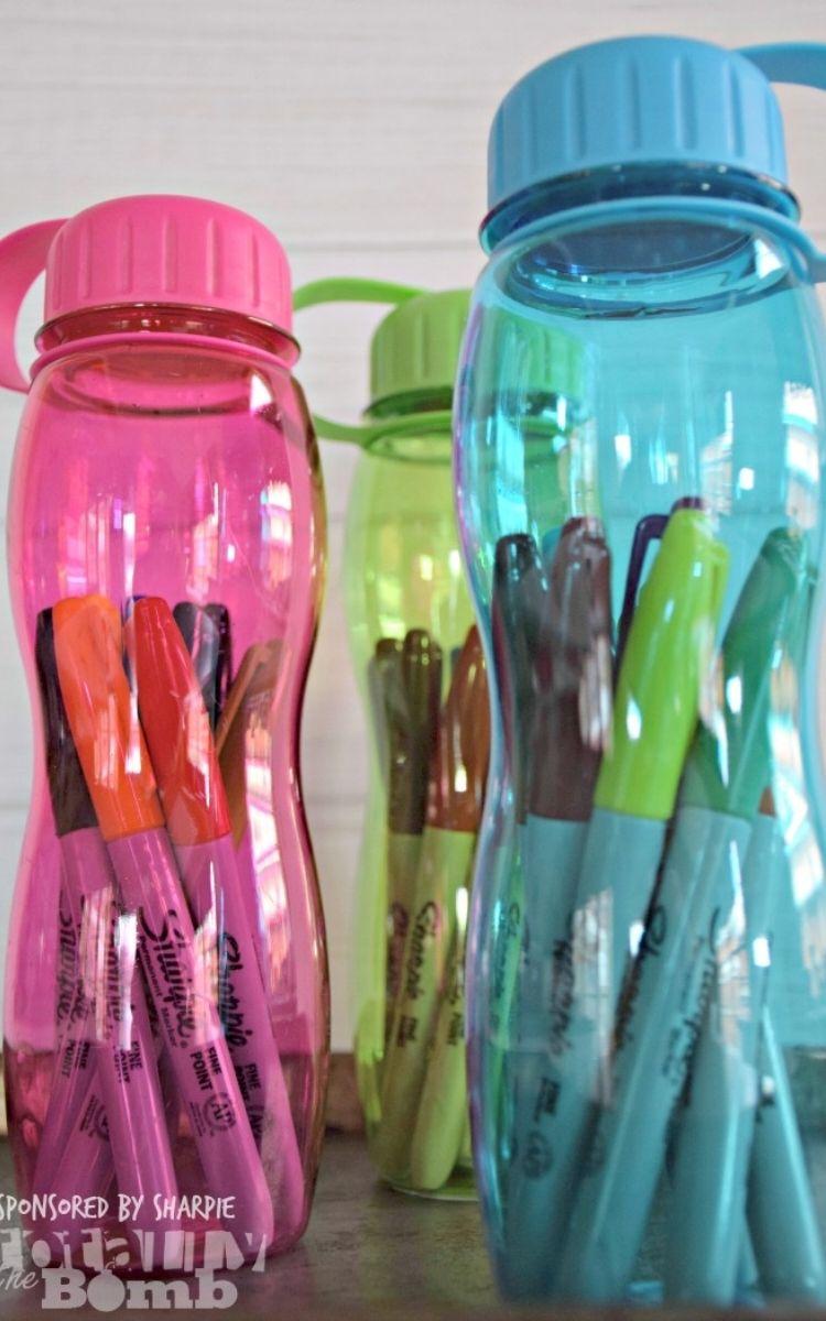 sharpies in water bottle teacher gift idea