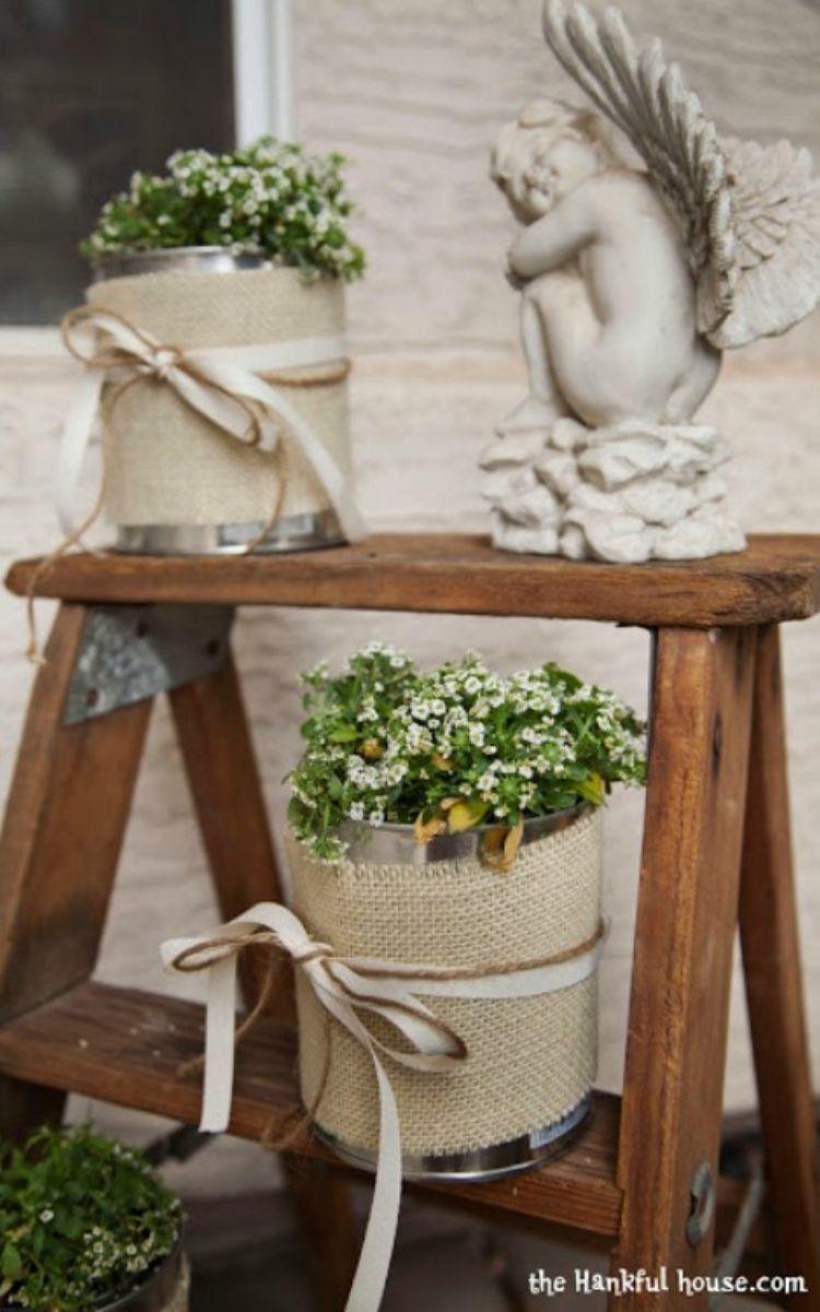Paint can flower pots