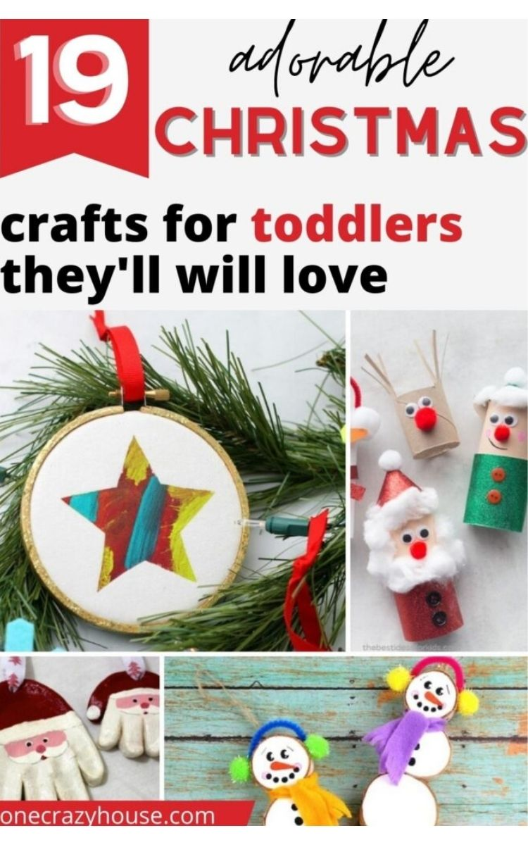 Christmas collage of crafts for toddlers, snow men, star, Santa