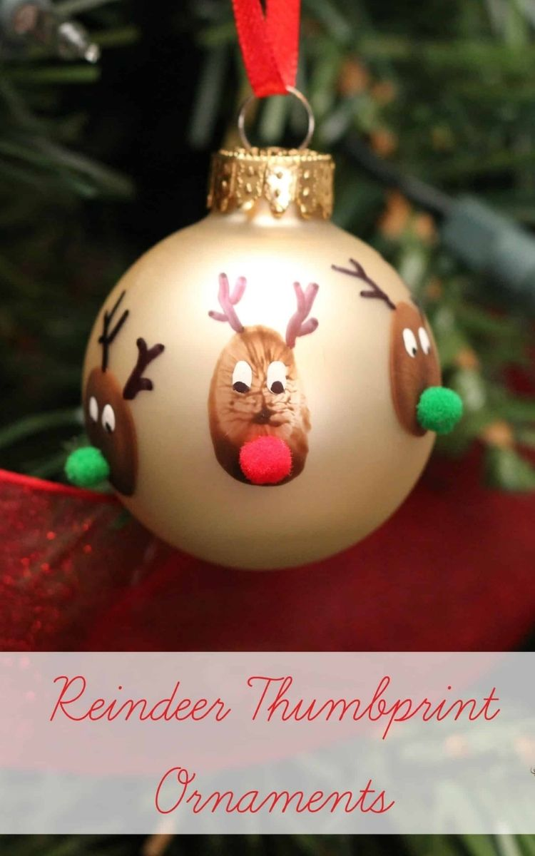 thumbprint ornament with pompom nose