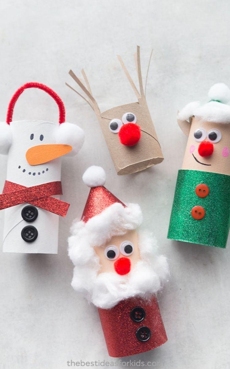 toilet paper roll snowman, santa, elf, and reindeer