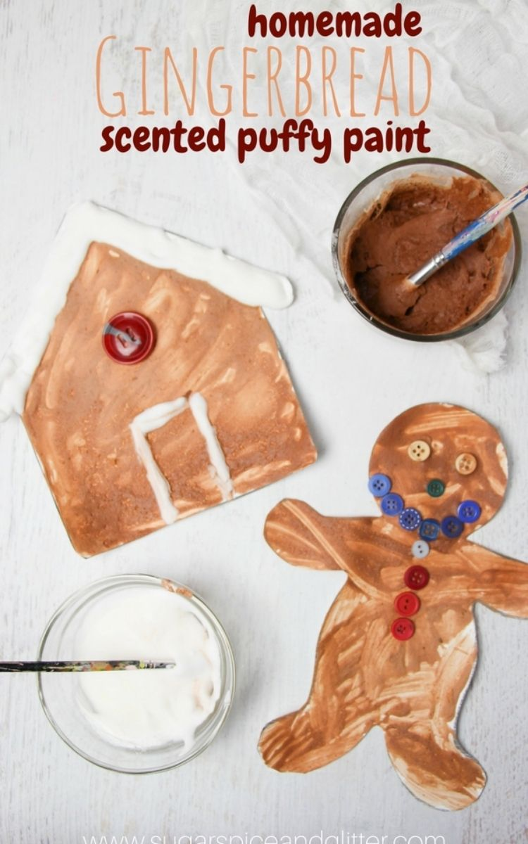 making gingerbread with puffy paint