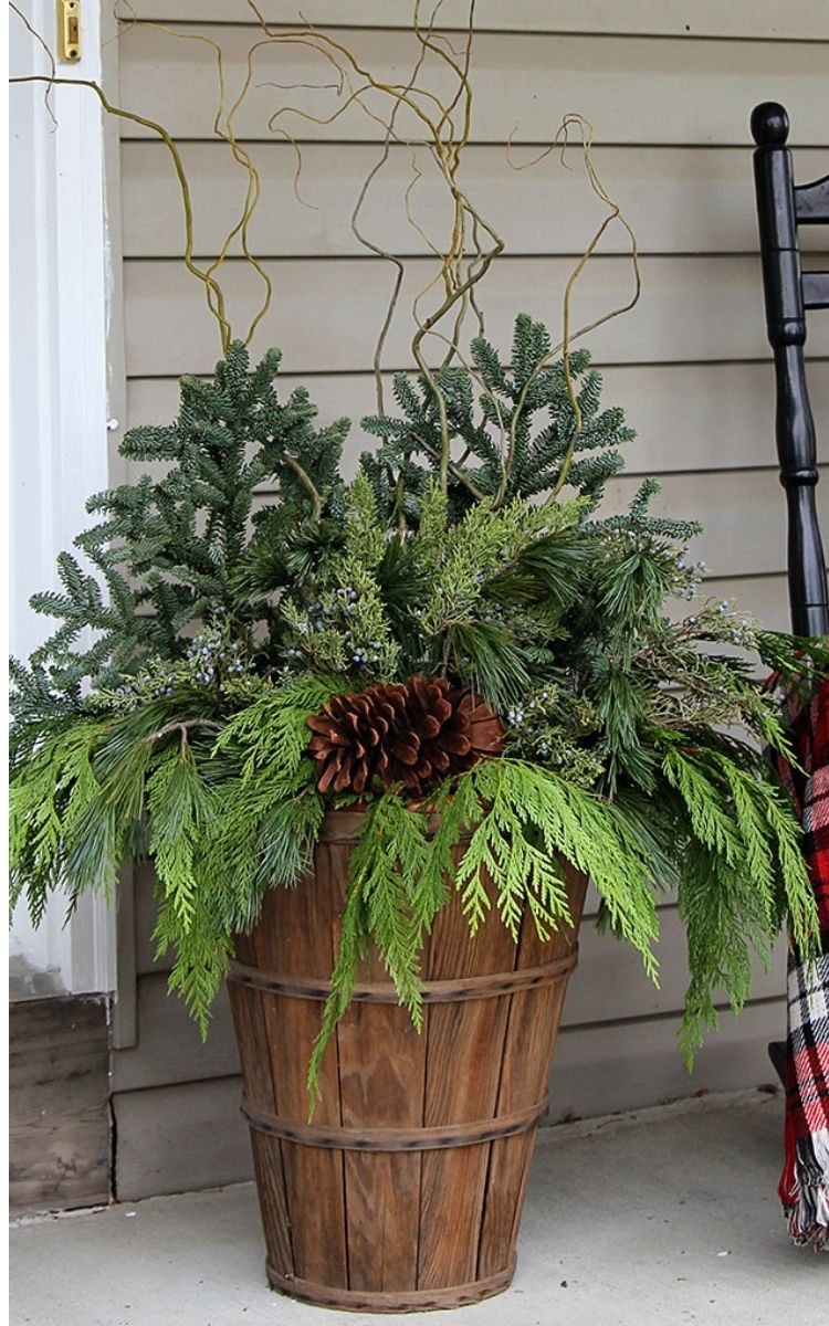 DIY gorgeous winter porch pot