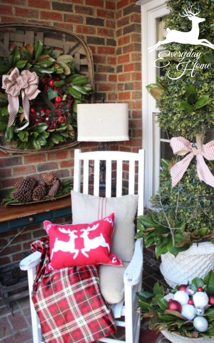 farmhouse front porch Christmas decorations