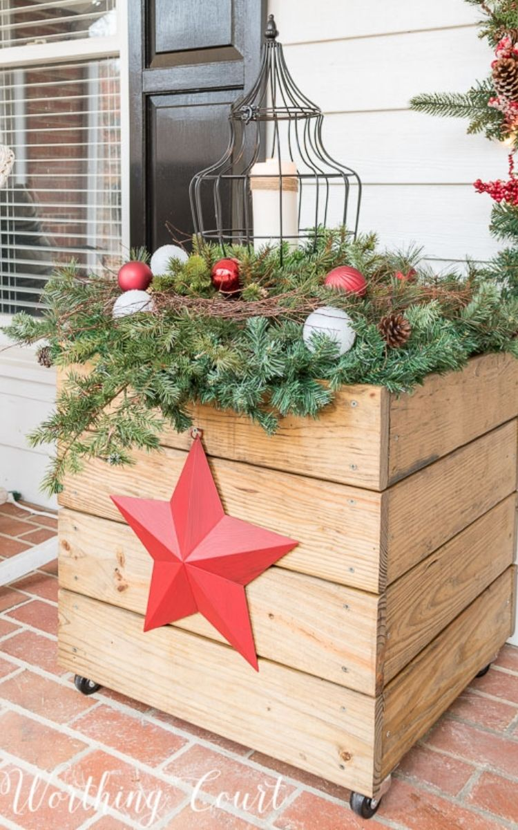 DIY Christmas planters as part of your front porch Christmas decora