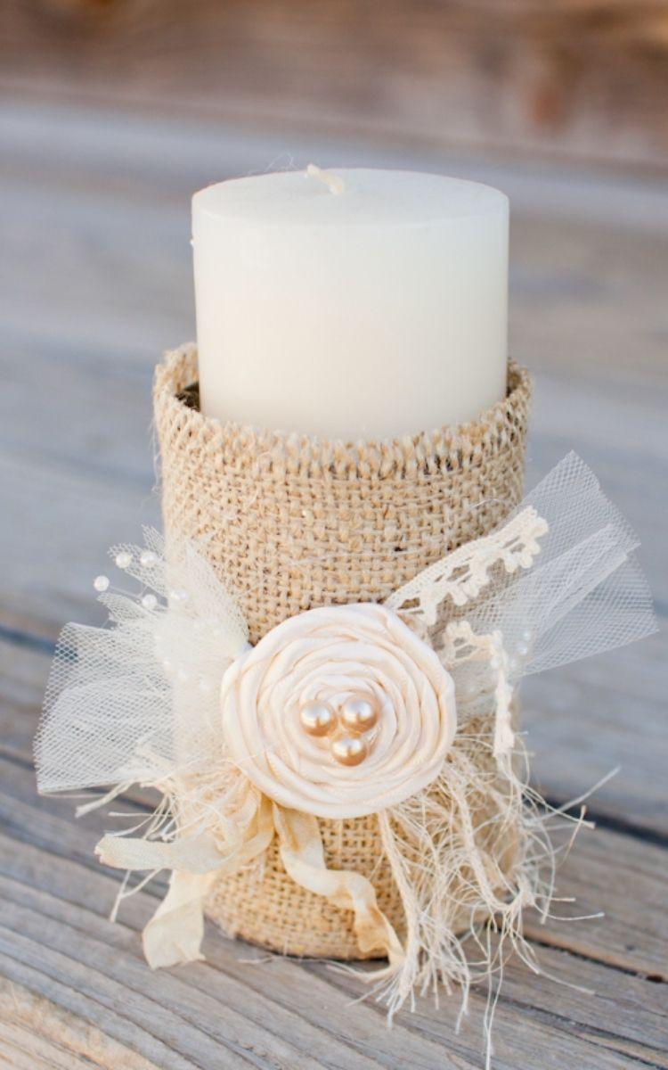 burlap tin can candle holder