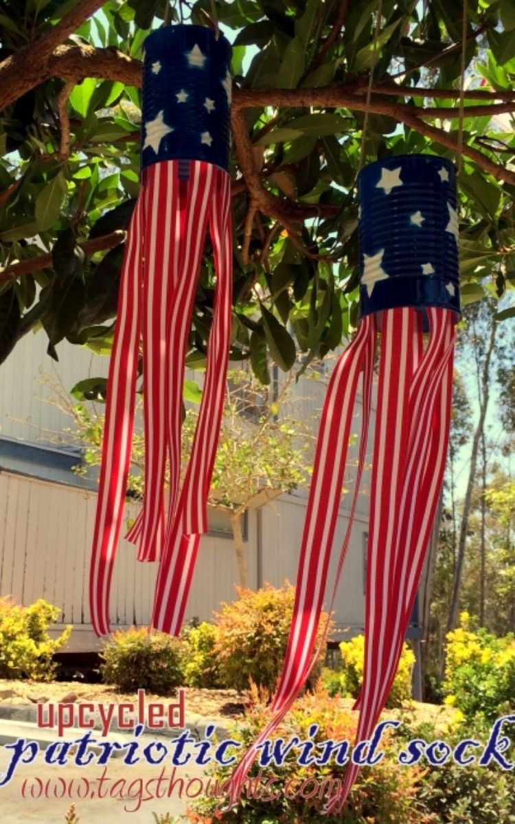 patriotic tin can wind sock