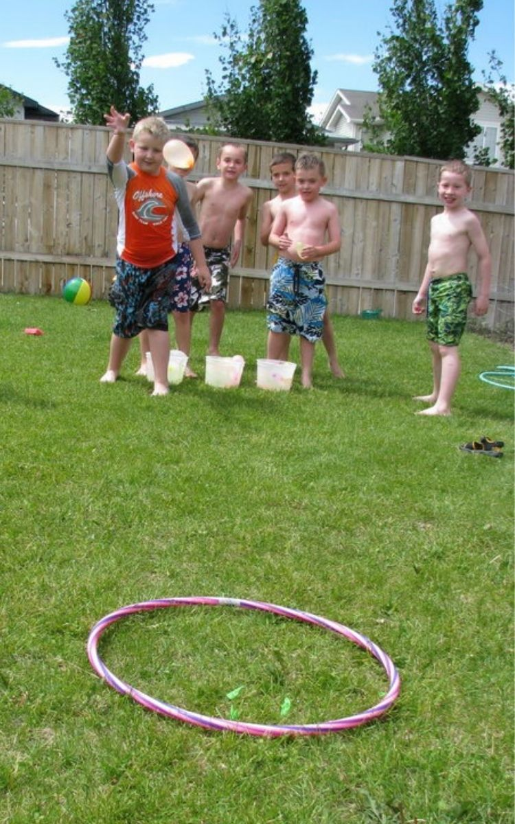 Hula Hoop target toss with water balloons