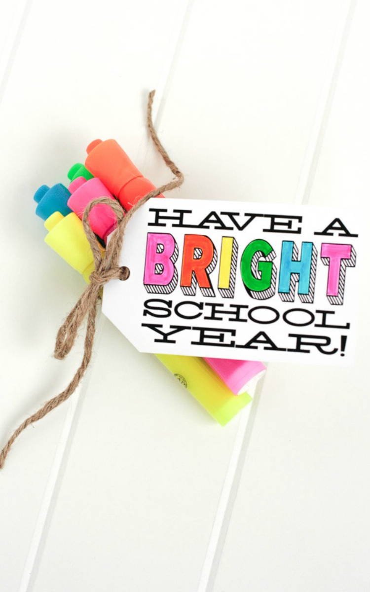bright highlighters for teacher's gift
