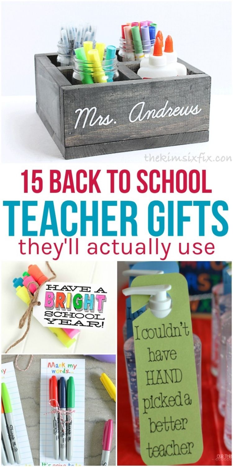 practical back to school teacher gifts highlighters, sharpies, hand sanitizer and storage container