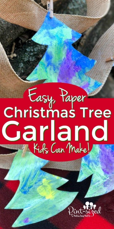 hand painted Christmas tree garland