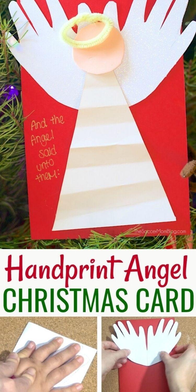 handprint angel Christmas card