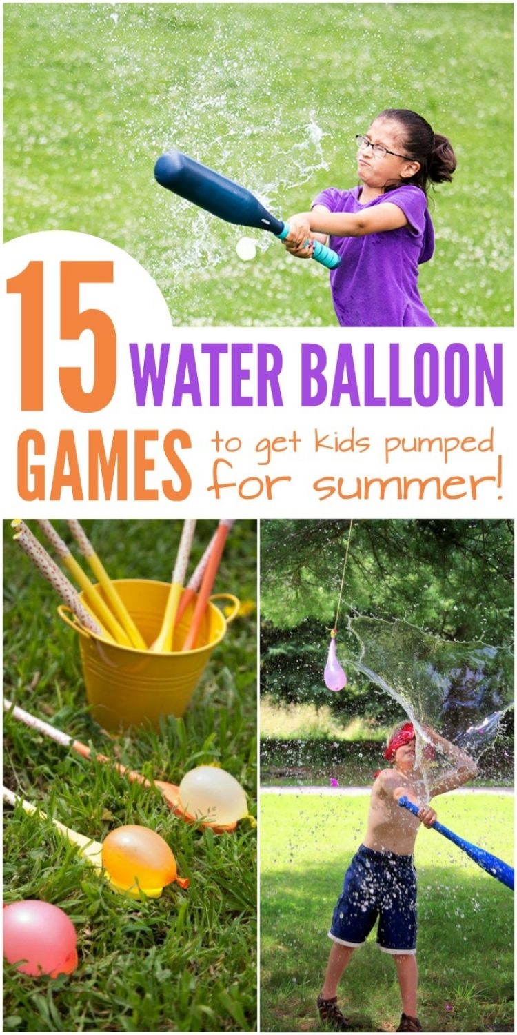 Water balloon collage of girl hitting water balloon with baseball bat, water balloon relay and boy hitting water balloon piñata