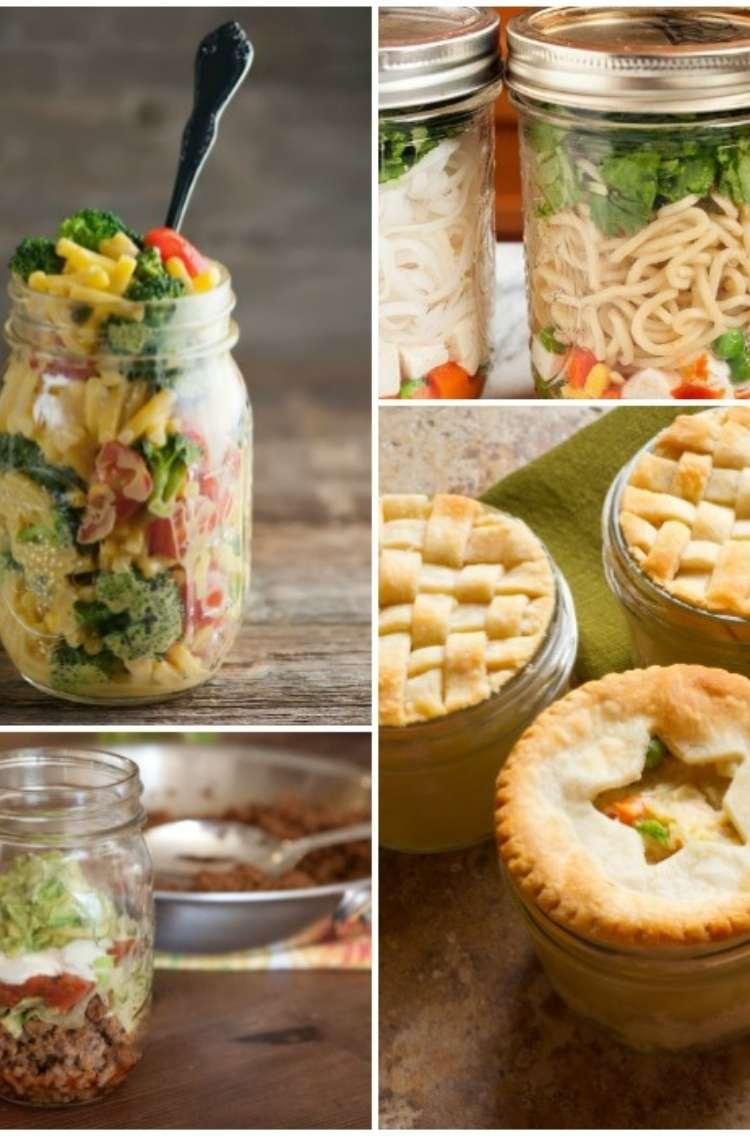 Mason Jar meals collage: chicken pot pie, noodle soup, egg scramble breakfast, taco salad