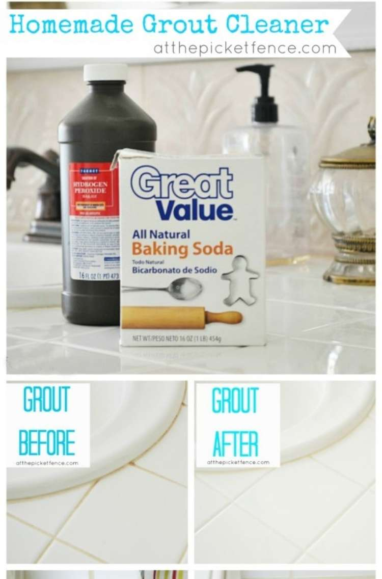 Hydrogen peroxide grout cleaner