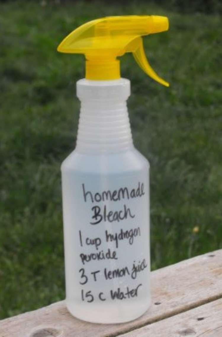 hydrogen peroxide recipe- homemade lemon bleach cleaner