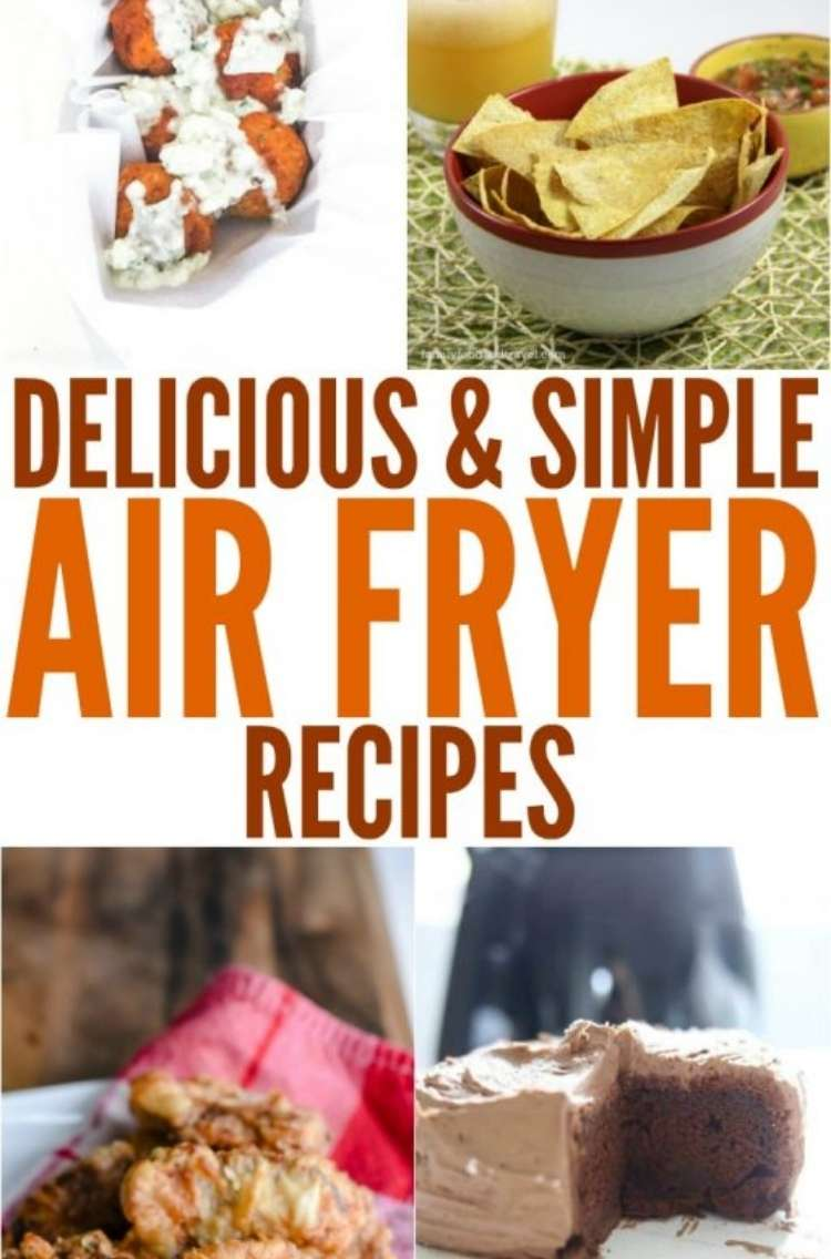 OneCrazyHouse Air Fryer Recipes fried venison steaks on a napkin on a plate, Air Fried buffalo chicken meatballs with dressing on top, bowl of homemade corntortillas with a bowl of salsa and a margarita with a lime and straw in the background, chocolate cake with a slice cut out of it on a plate,