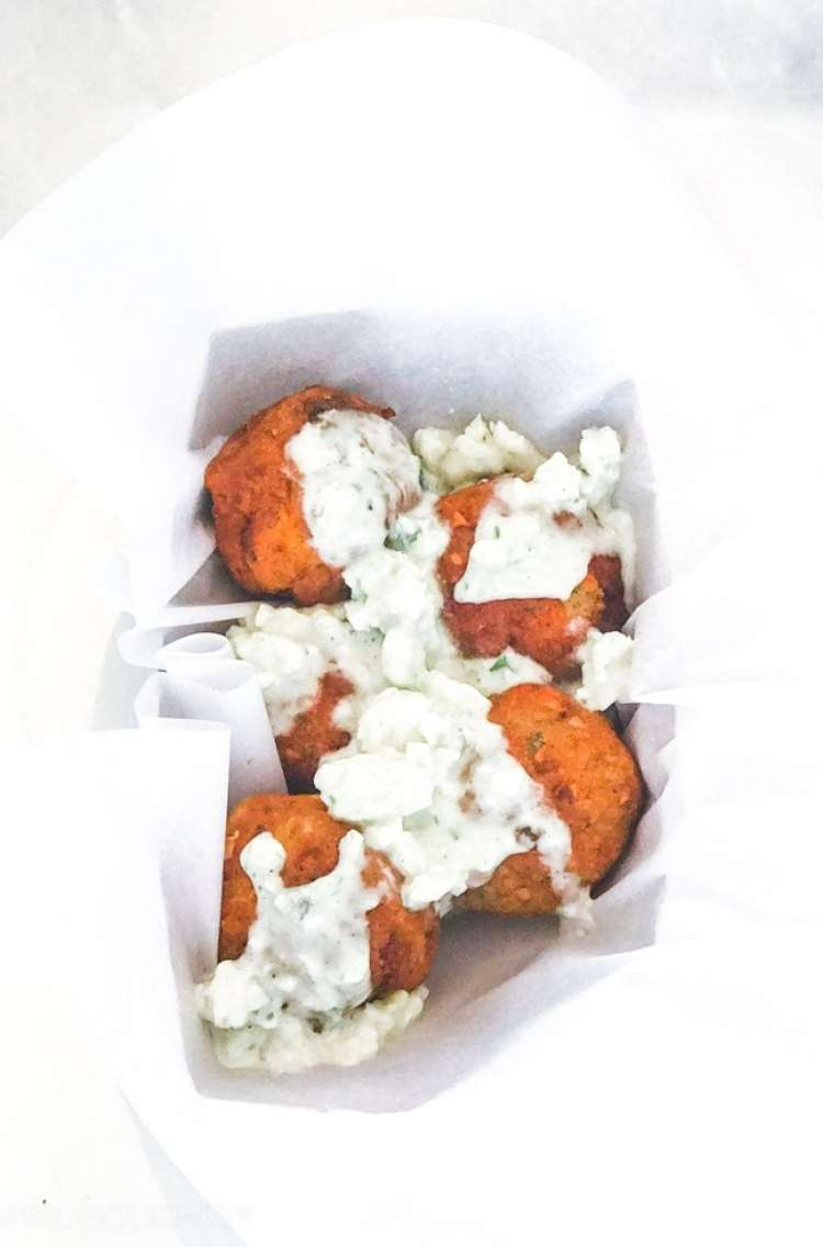 OneCrazyHouse Air Fryer Recipes Air Fried buffalo chicken meatballs with dressing on top