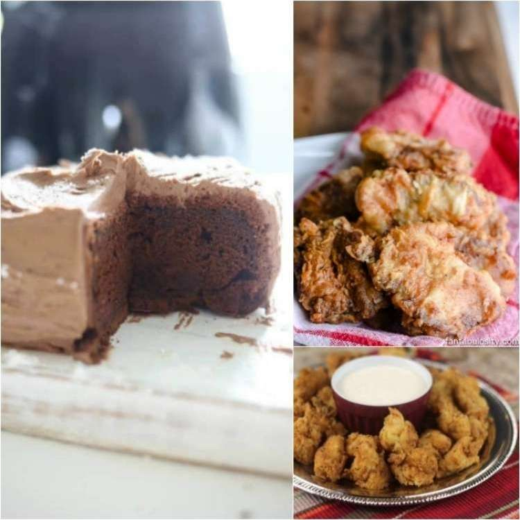 OneCrazyHouse Air Fryer Recipes OneCrazyHouse Air Fryer Recipes photo collage, chocolate cake with a slice cut out of it on a plate, fried venison steaks on a napkin on a plate, bowl of fried copycat chik fil a nuggets arranged on a plate around a dipping sauce