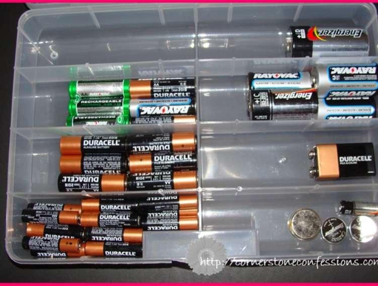 OneCrazyHouse DIY Home Organization plastic organizer filled with batteries