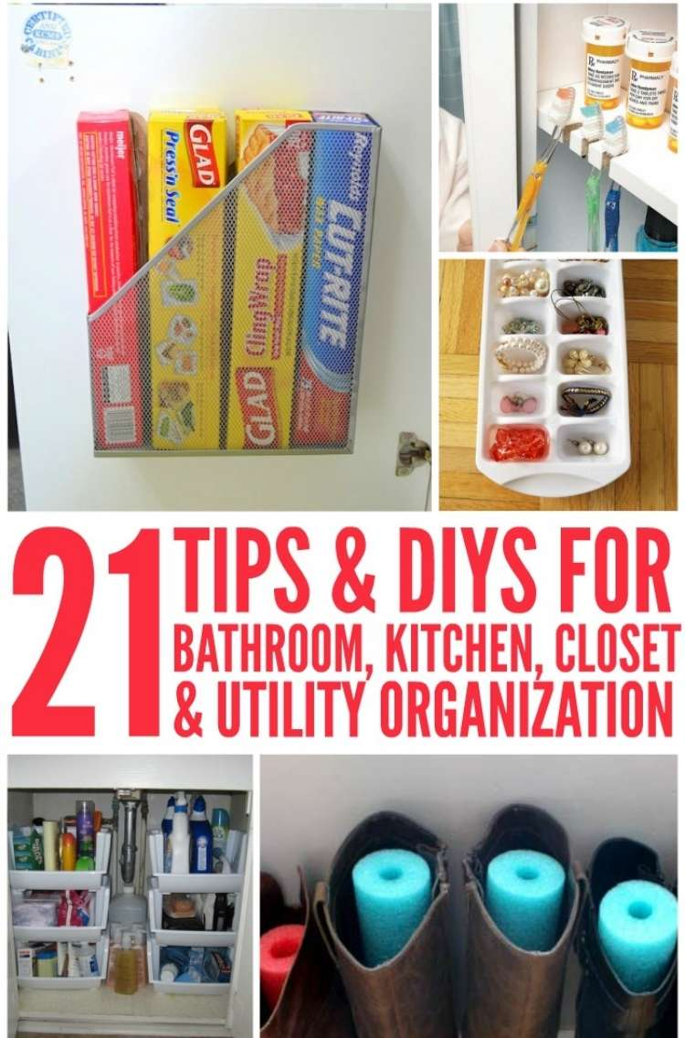 OneCrazyHouse-DIY-Home-Organization magaznie holder attached to kitchen cabinet door with plastic wrap boxes neatly organized inside, ice cube maker being used to store jewelry in each compartments, under the sink storage area organized with plastic containers as shelving, leather boots with pieced of pool noodle cut to fit inside to prevent creases