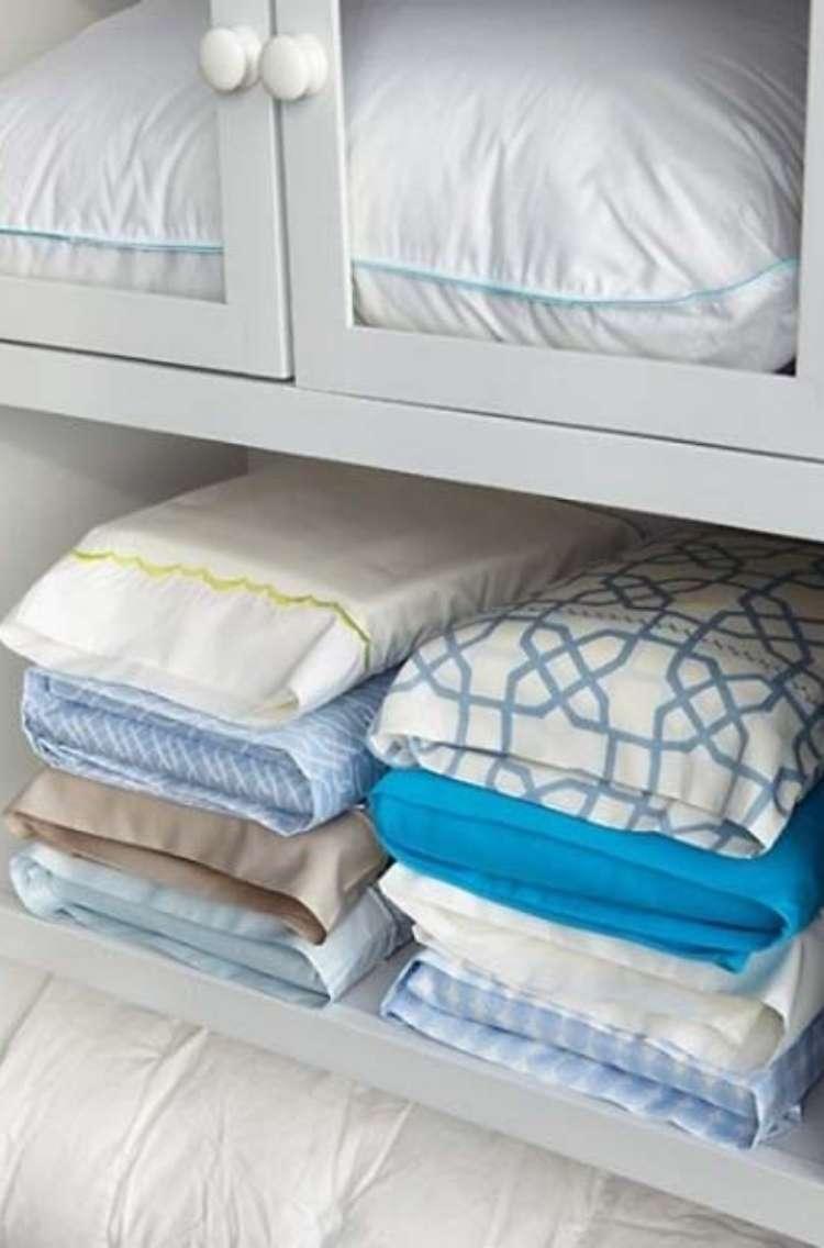 OneCrazyHouse DIY Home Organization bedsheet sets organized inside of coordinating pillowcases