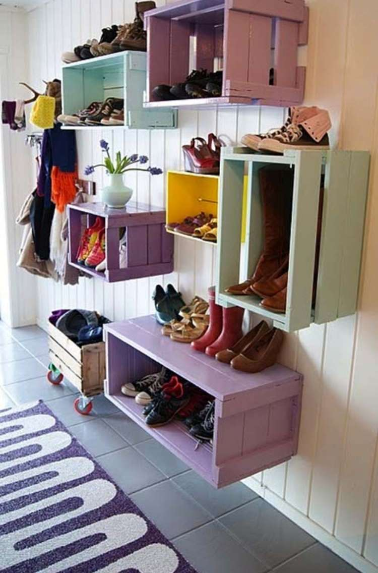 OneCrazyHouse DIY Home Organization wooden crates attached to wall to organize entry area with jackets and boots/shoes