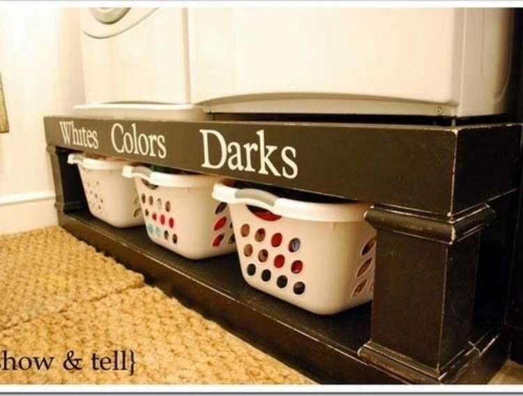 OneCrazyHouse DIY Home Organization 3 laundry baskets neatly tucked into a tiable and labled with each type of laundry: White, colors, darks
