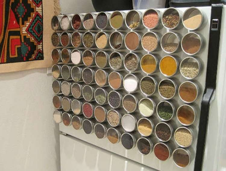 OneCrazyHouse DIY Home Organization side of refrigerator with spices neatly arranged in circle metal containers