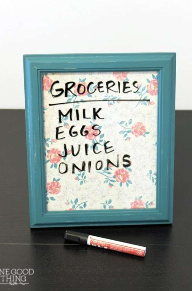 OneCrazyHouse Dorm Room Decor whiteboard made from a frame with groceries written on it