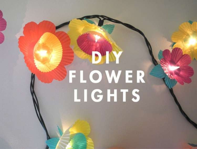OneCrazyHouse Dorm Room Decor lights decorated with cupcake liners to look like flowers