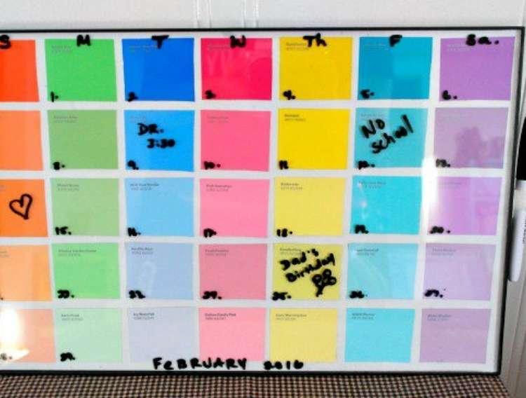 OneCrazyHouse Dorm Room Decor paint cards arranged inside of a frame used as a dry erase calendar