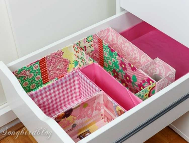 OneCrazyHouse Dorm Room Decor drawers with sections made from cardboard boxes covered in colorful paper