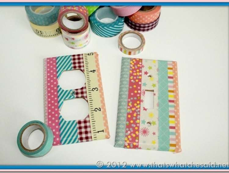 OneCrazyHouse Dorm Room Decor electric and lightswitch socket plated decorated with strips of washi tape