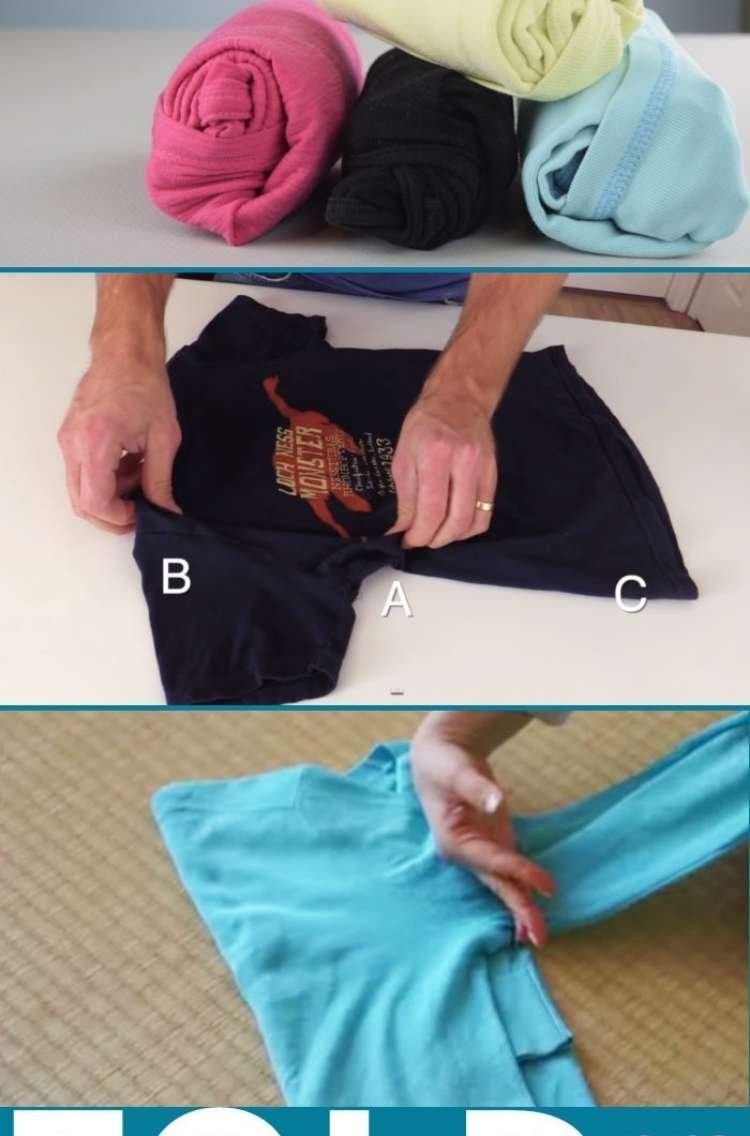 OneCrazyHouse Dorm Room Decor photo collage showing 3 ways to fold shirts