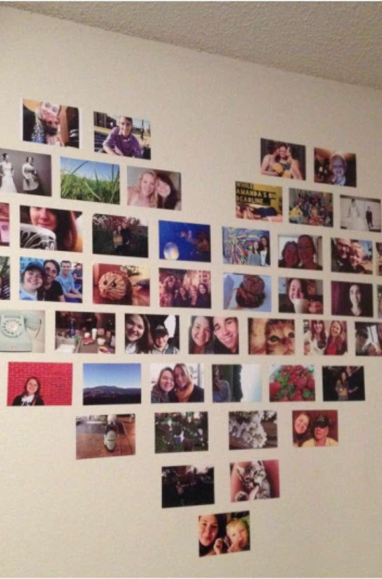 OneCrazyHouse Dorm Room Decor printed photos arranged into shape of a heart on a wall