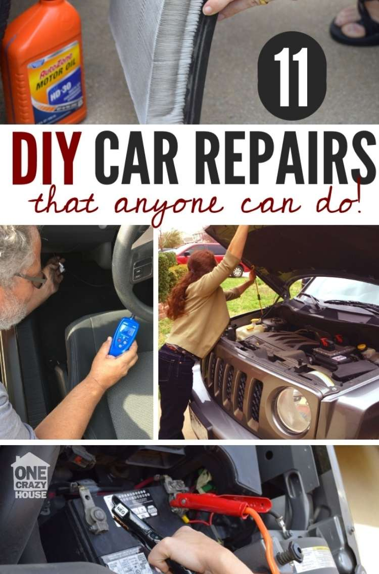 OneCrazyHouse Easy Car Repairs collage photo, hand holding a car filter, man holding machine inside drivers side of car taking measurement, woman holding car hood open and extending the leg to keep it up to repair something in the car engine