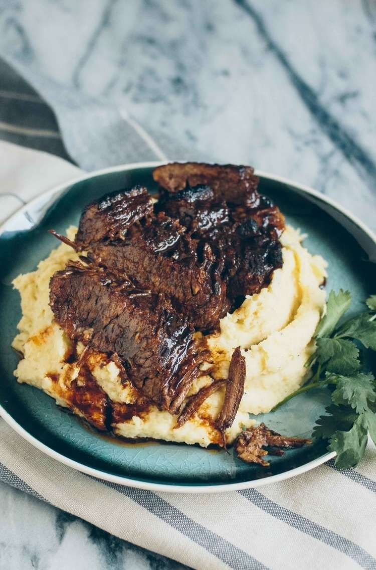 OneCrazyHouse Instant Pot Dinners Maple smoked brisket served over mashed potatoes