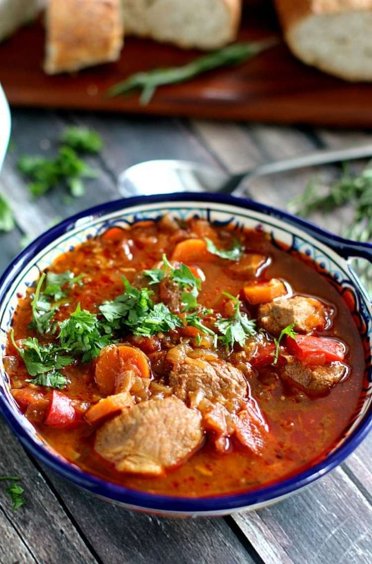 OneCrazyHouse Instant Pot Dinners bowl of slow cooked pork goulash