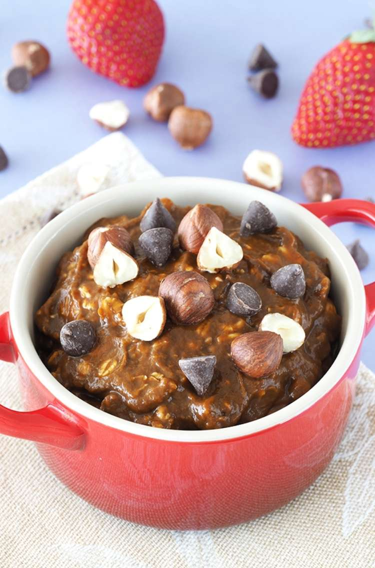 OneCrazyHouse Make Ahead Breakfast mug filled with chocolate and cherry overnight breakfast