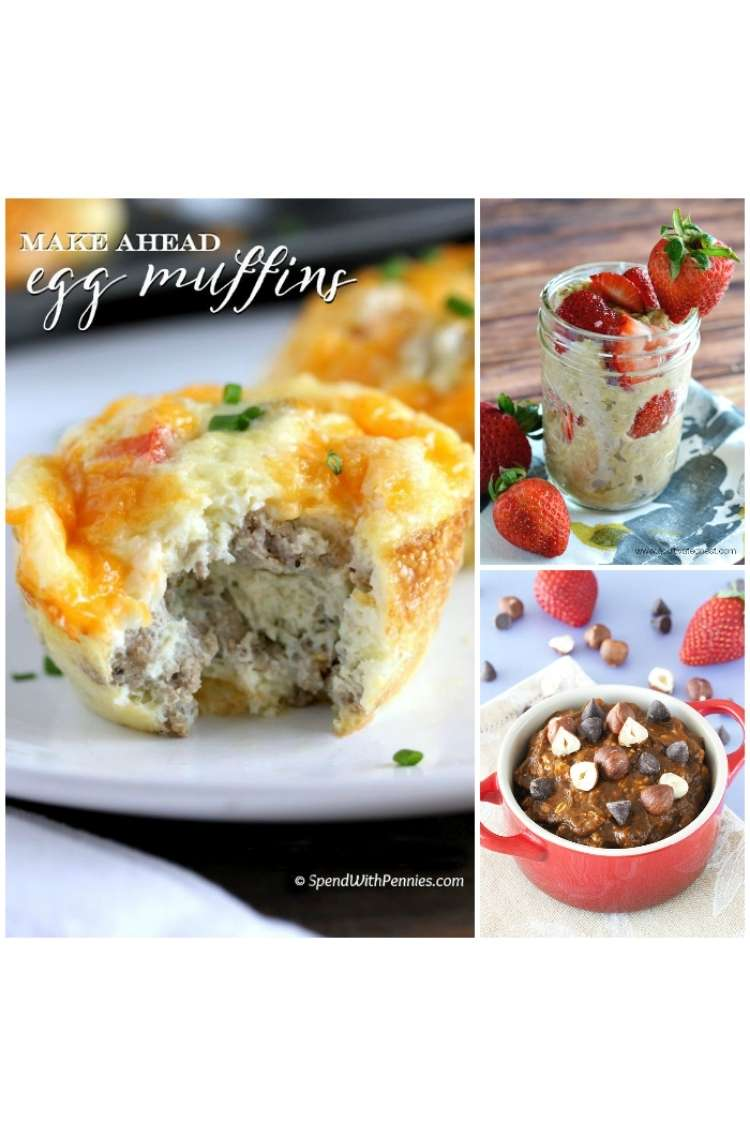 OneCrazyHouse Make Ahead Breakfast collage photo, Egg Muffin filled with sausage on a plate with a bite taken out to show the inside of the egg stuffed with sausage, mason jar filled with overnight oats and sliced strawberries, mug filled with chocolate and cherry oats.