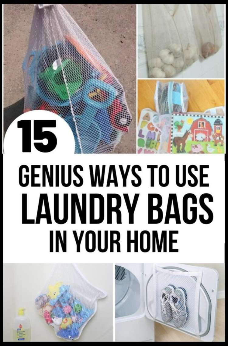 OneCrazyHouse Mesh Laundry Bags photo collage, mesh laundry bag filled with beach toys, 2 mesh laundry bags filled with puzzles , Mesh bag hanging from bathroom wall with bathtub toys inside, mesh bag repurposed as a net to hold sneakers on dryer door
