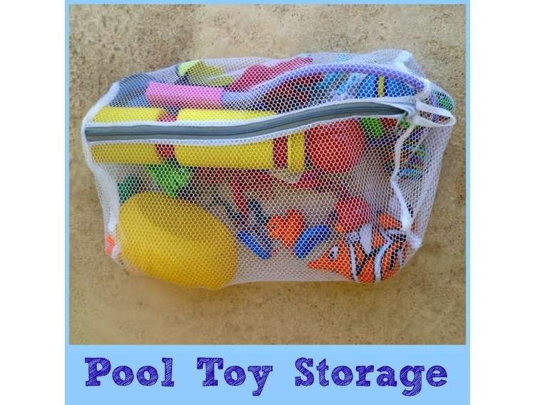 OneCrazyHouse Mesh Laundry Bags mesh laundry bag filled with pool toys to store