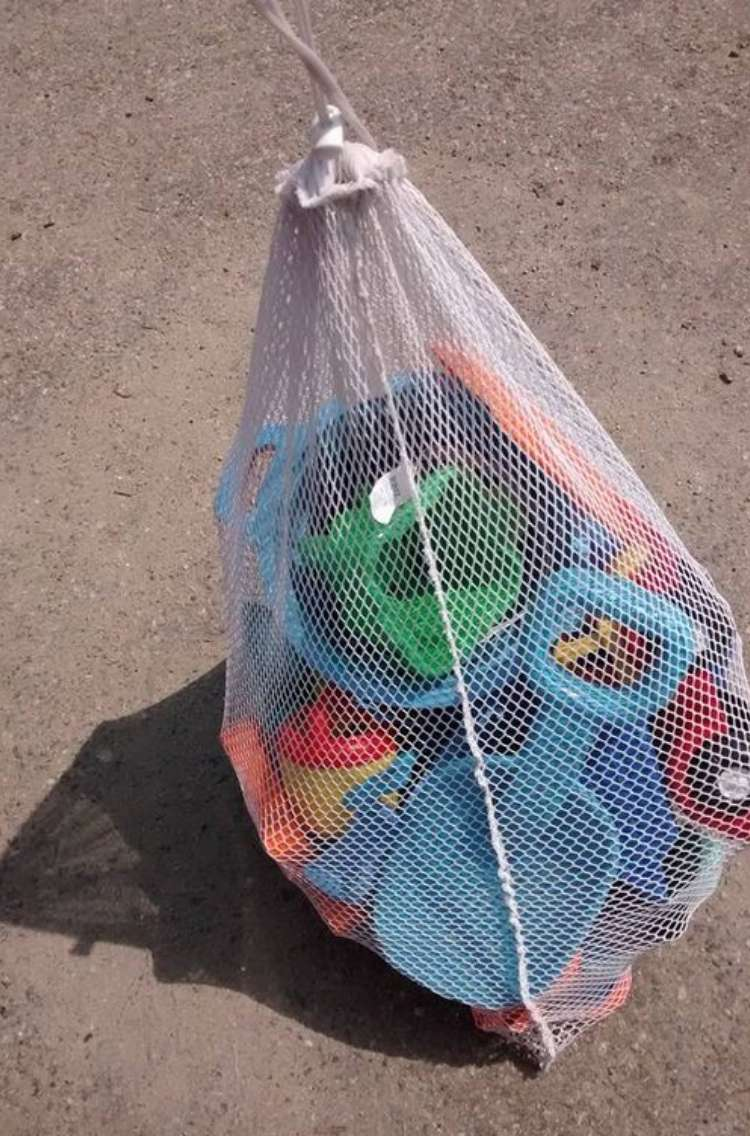 OneCrazyHouse Mesh Laundry Bags mesh laundry bag filled with beach toys
