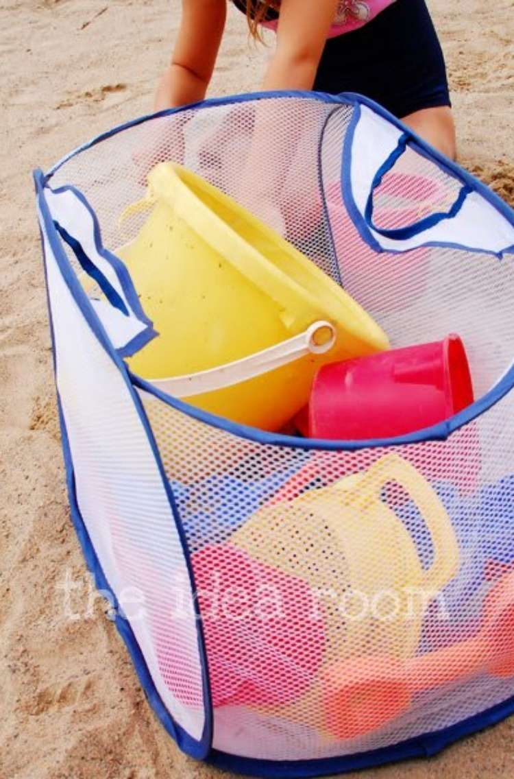OneCrazyHouse Mesh Laundry Bags laundry mesh hamper filled with larger beach toys like buckets and shovels