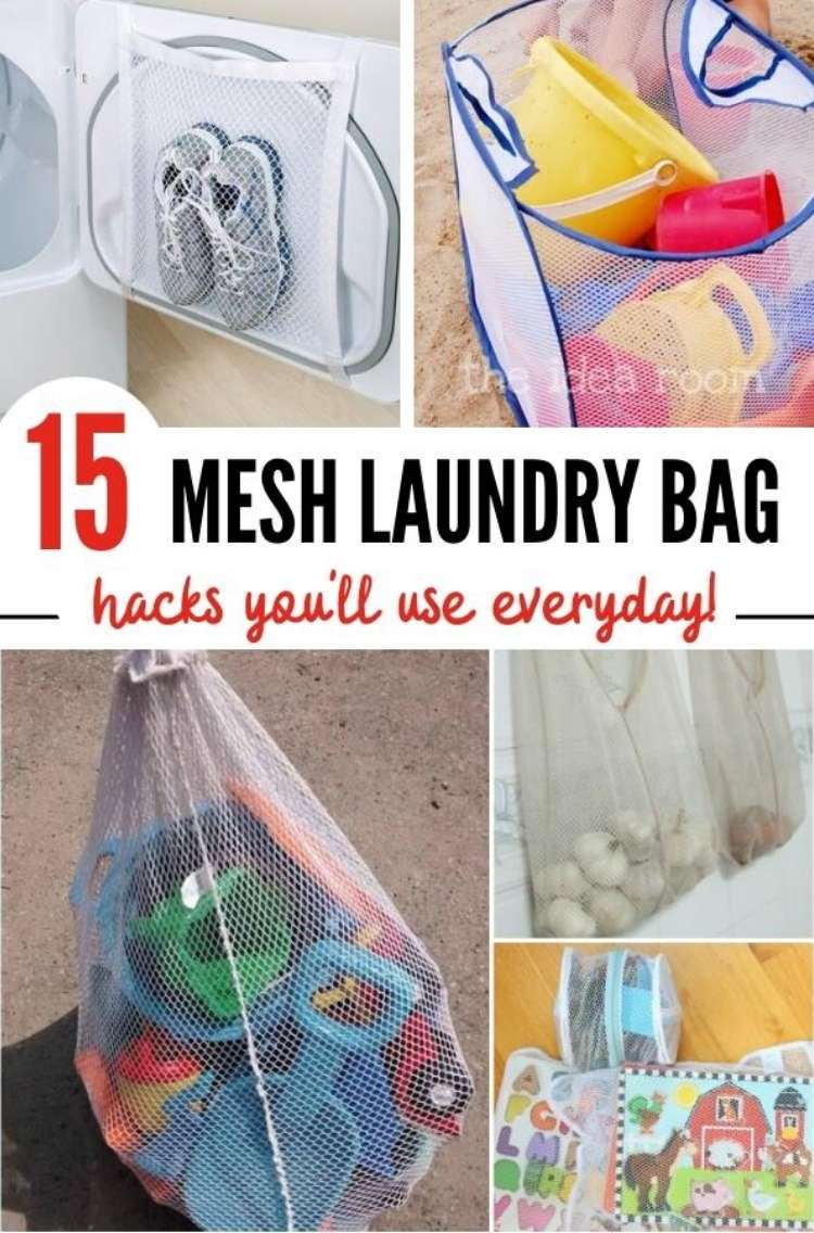 OneCrazyHouse Mesh Laundry Bags collage photo mesh bag repurposed as a net to hold sneakers on dryer door, mesh laundry bag filled with beach toys,2 mesh laundry bags filled with puzzles laundry mesh hamper filled with larger beach toys like buckets and shovels