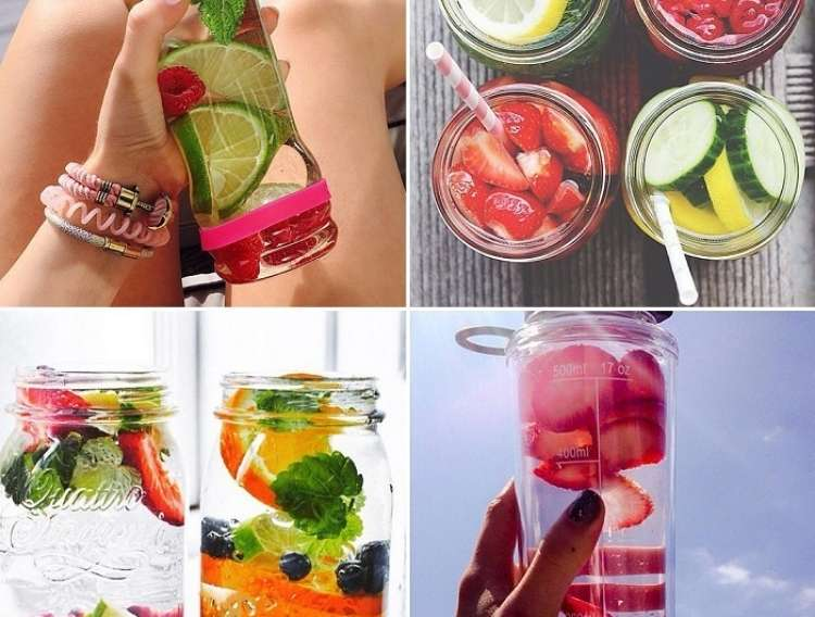 OneCrazyHouse Stay Cool without a pool photo collage of water bottles with different fruits floating in them
