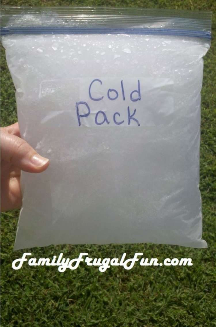 """OneCrazyHouse Stay Cool without a pool hand holding a zip lock bag filled with frozen water labeled """"cold pack"""""""